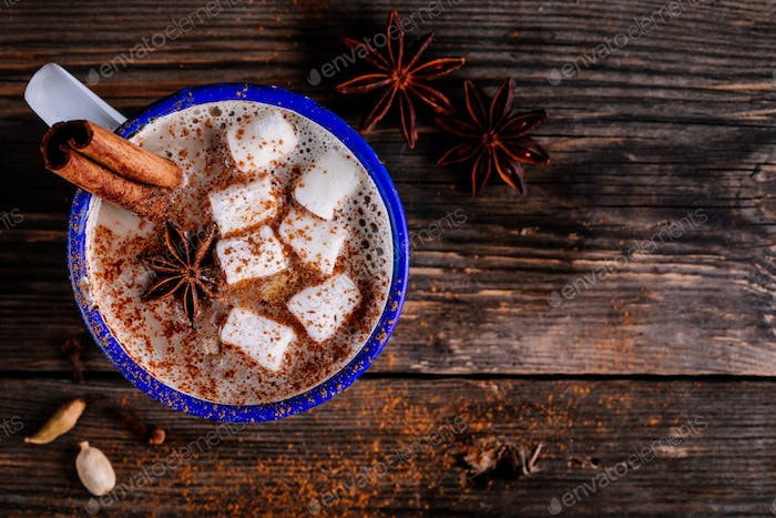 Hot cocoa drink with cinnamon and marshmallows.