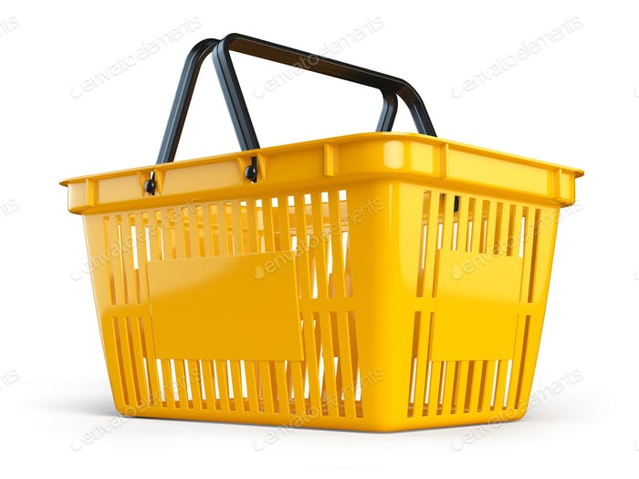 Yellow empty  shopping basket isolated on white background