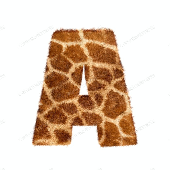 Letter from giraffe style fur alphabet. Isolated on white background. With clipping path.