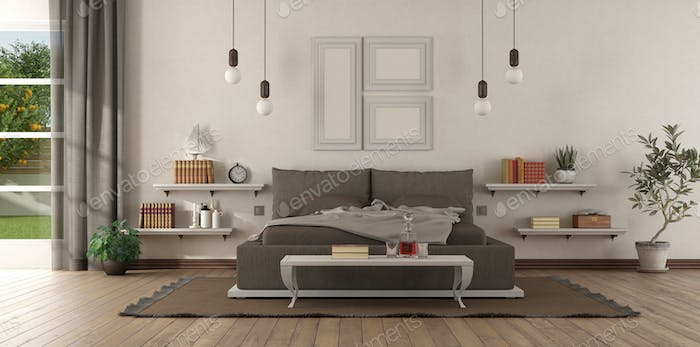 Modern master bedroom with brown bedroom and shelves on wall - 3d rendering