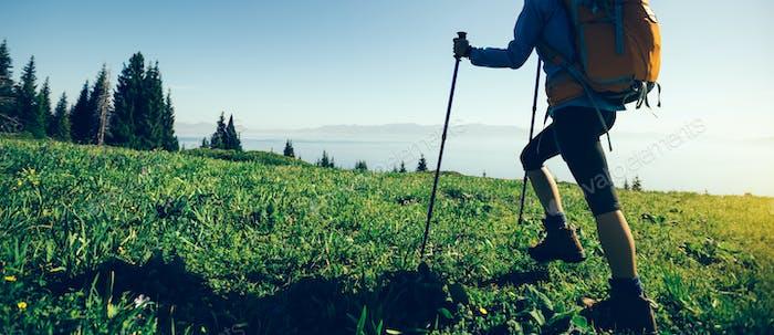 Hiking in beautiful mountain top