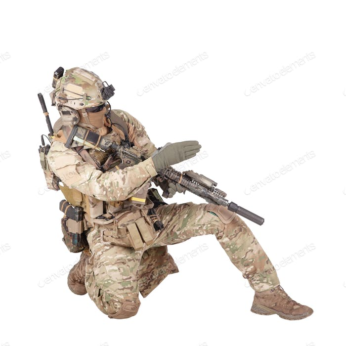 Army sergeant pointing attack direction with palm