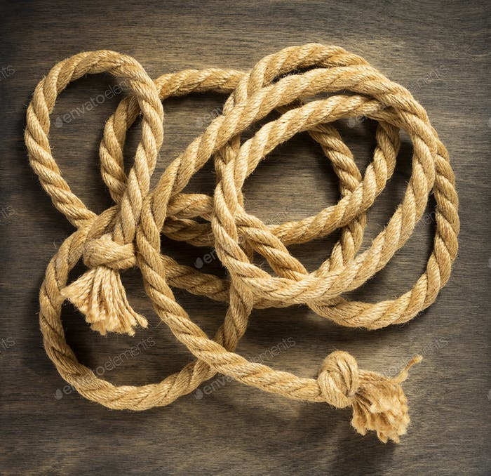 ship rope at wooden background
