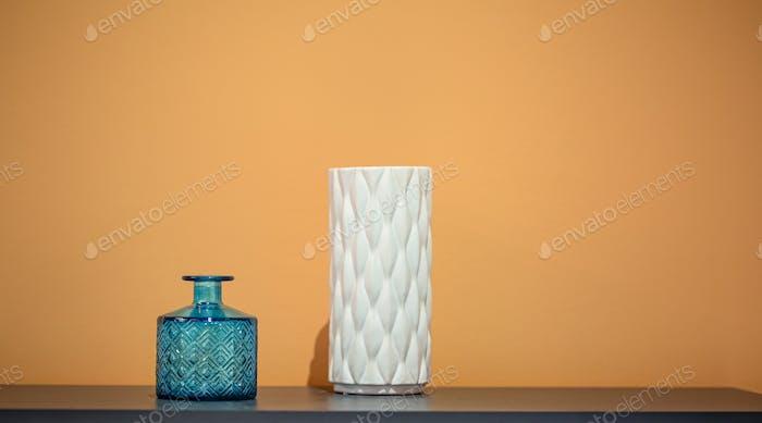 Cozy decor items in the interior, beautiful vases.