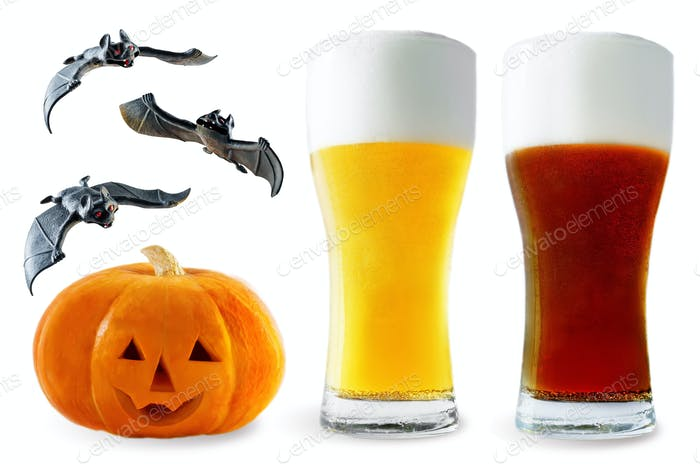 Beer list: light and dark beer with pumpkin and bats isolated