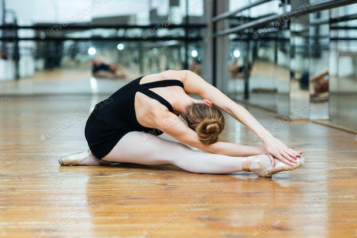Ballet dancer performing exercise