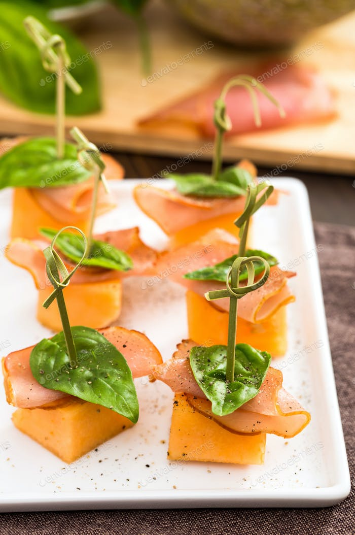 Proscuitto and cantaloupe skewers