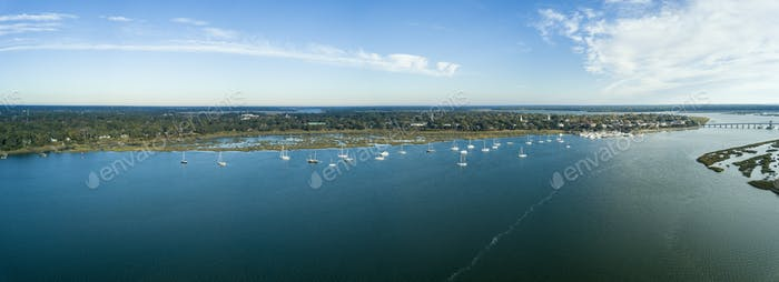 180 degree aerial view of Beaufort, South Carolina and surroundi