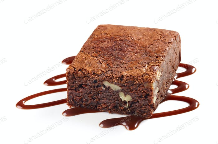 piece of chocolate brownie cake