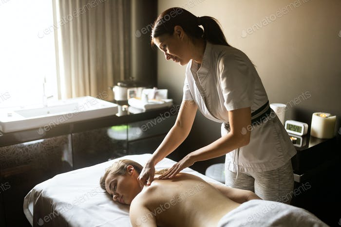 Healthy and beautiful woman in spa. Recreation, energy, health, massage