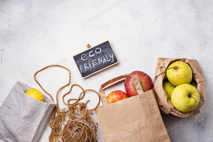 Eco-friendly packing. Paper and cotton bags