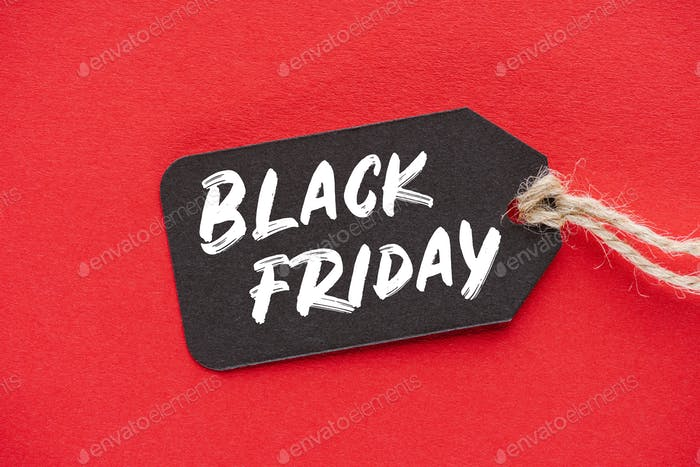 shopping sale tag with black friday sign on red