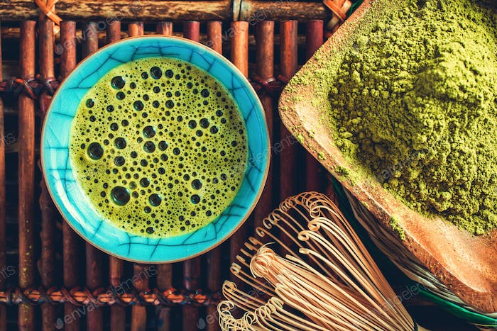 Matcha tea cuo above