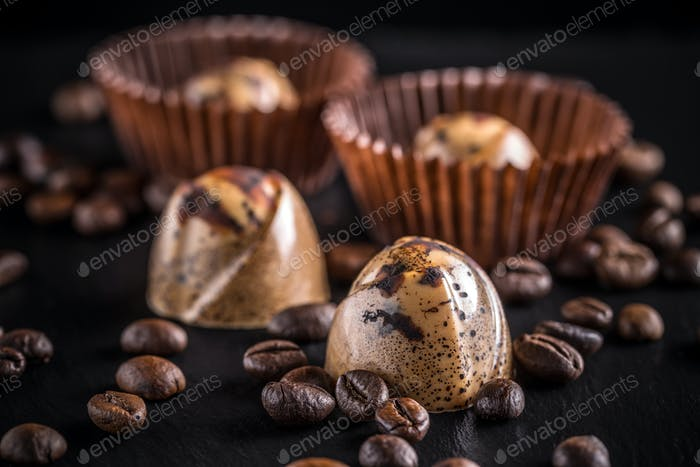 Chocolate pralines with coffee