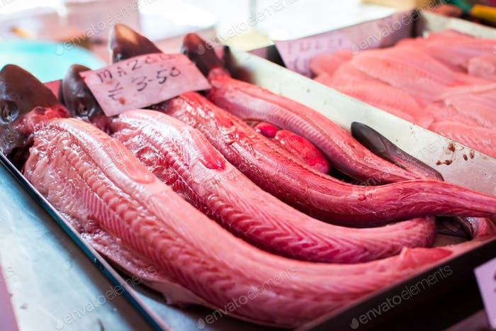 Red fish meat at fish market