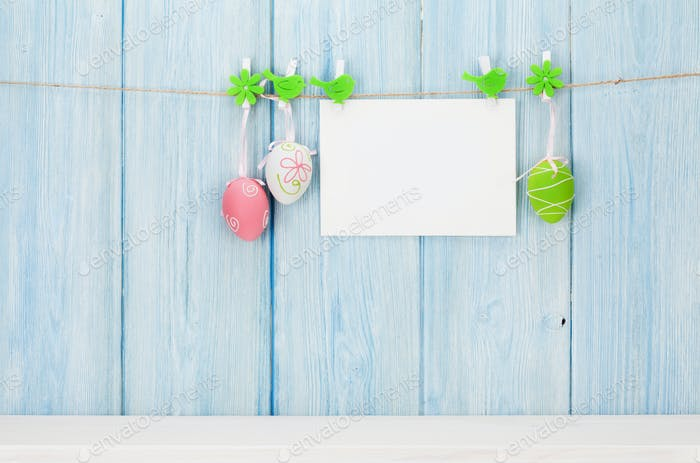 Colorful easter eggs and greeting card