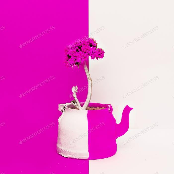 Creative Flower in a teapot. Minimal art design