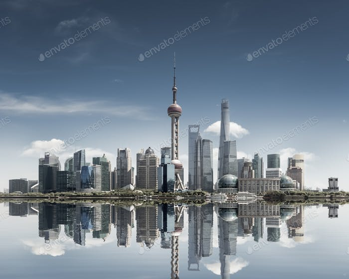 shanghai skyline against a sunny sky and reflection