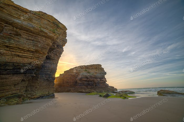 Sunset on the cliffs  of Las Catedrales