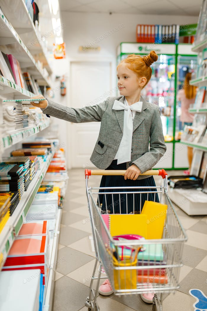 Little school girl with cart, stationery store
