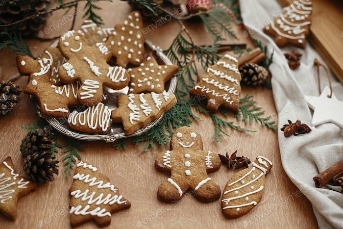 Christmas gingerbread man,  cookies on vintage plate