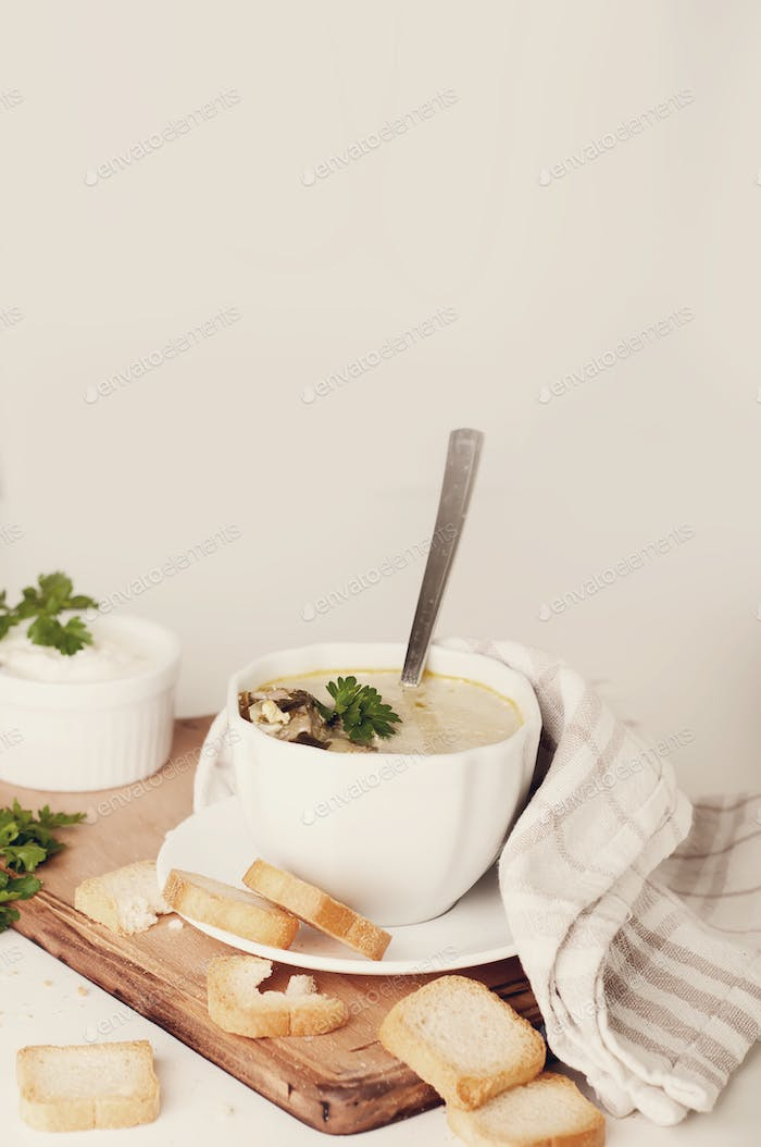 cremige Suppe mit Croutons