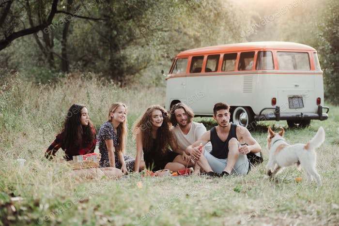 A group of young friends with a dog sitting on grass on a roadtrip through countryside.