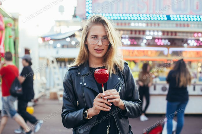 Hipster millennial young woman at fair