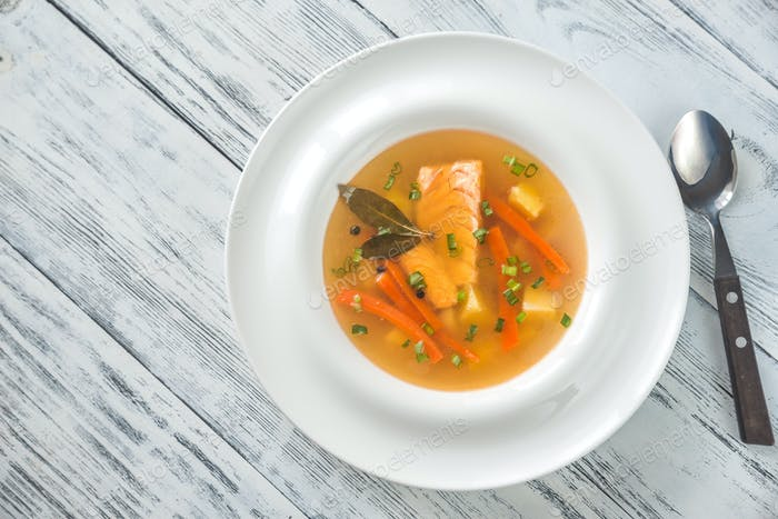 Portion of salmon soup
