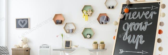 Habitación para Niños con estantes llenos de juguetes