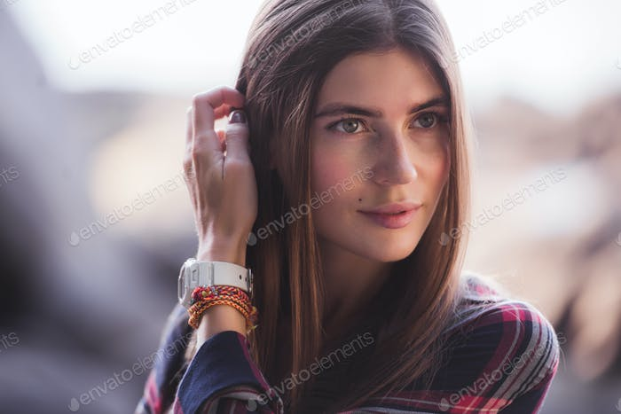 emotional portrait of Fashion stylish portrait of pretty young hipster blonde woman, soft colors