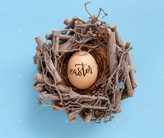 Egg with inscription EASTER in a nest over light blue background