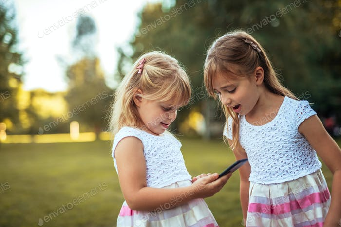 Enjoying their new smartphone