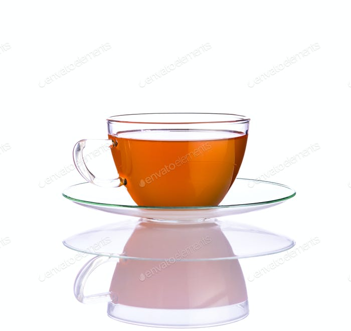 One Cup Fresh Tea on White Background