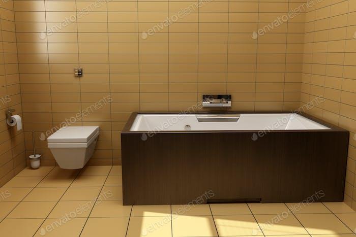 Badezimmer Im Japanischen Stil Mit Braunen Fliesen Foto Von Tiler84 Auf Envato Elements