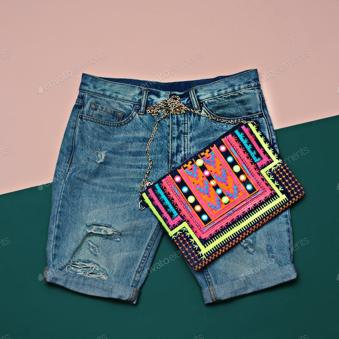 Stylish denim set. Denim shorts and clutch. Bright Summer Outfit