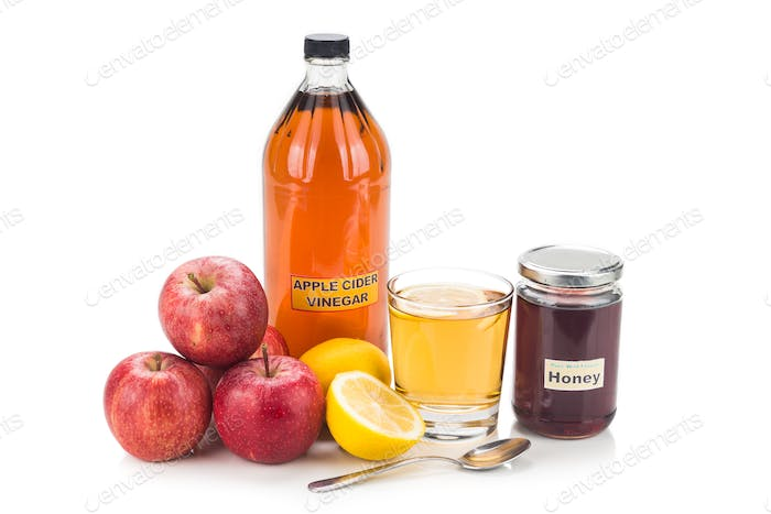 Apple cider vinegar with honey and lemon, natural remedies and c