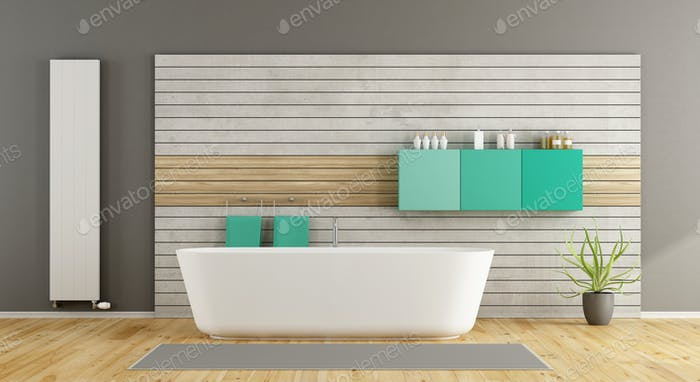 Minimalist bathroom with bathtub