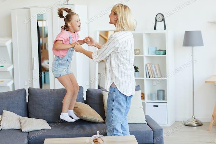 Family having fun at home