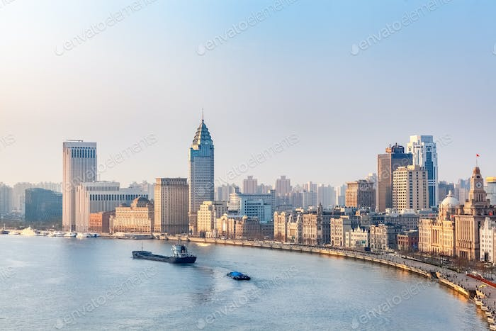 shanghai bund in the morning