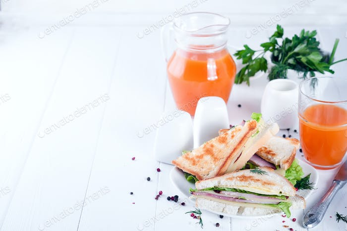 club sandwich and juice