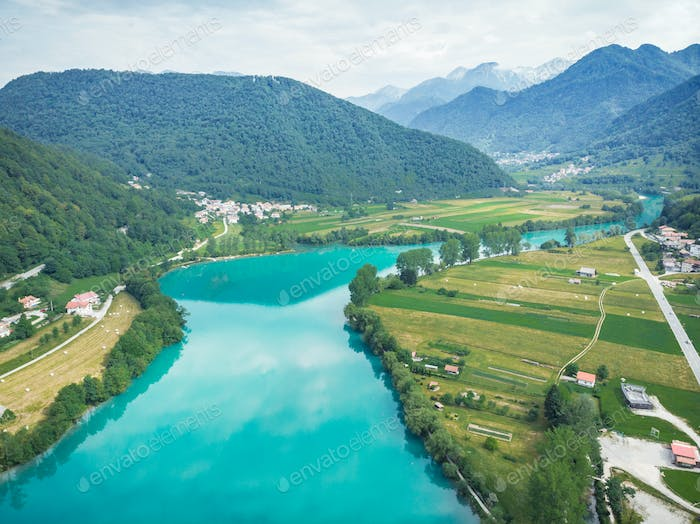 Breathtaking vista from drone at Most na Soci, Slovenia