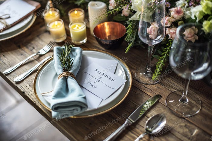 Elegant Restaurant Table Setting Service for Reception with Rese