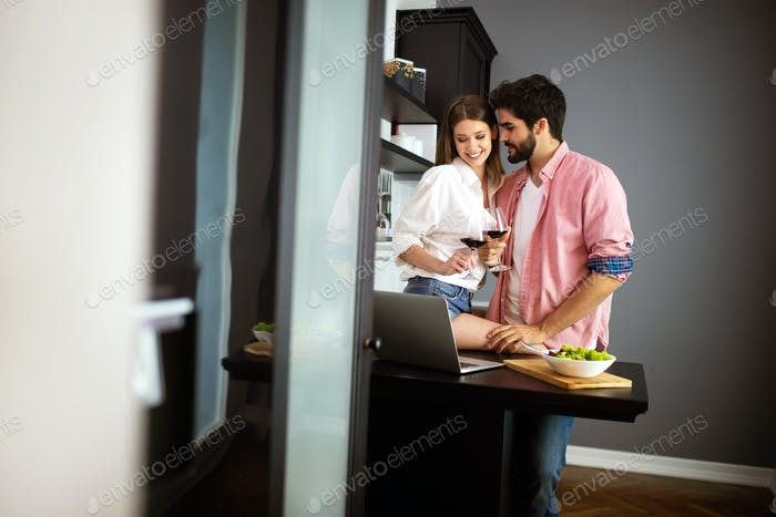 Couple enjoying breakfast time together at home