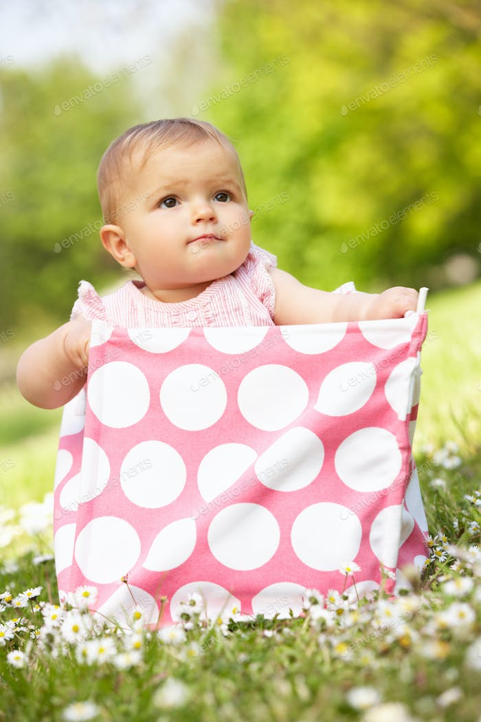 Baby Girl In Summer Dress Sitting In Bag