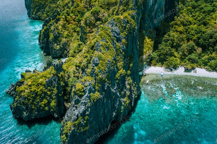 Aerial drone view of tropical island Entalula El Nido Palawan, Bacuit archipelago Philippines. Karst