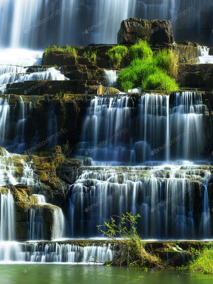 Tropical landscape with Pongour waterfalll. Da Lat, Vietnam