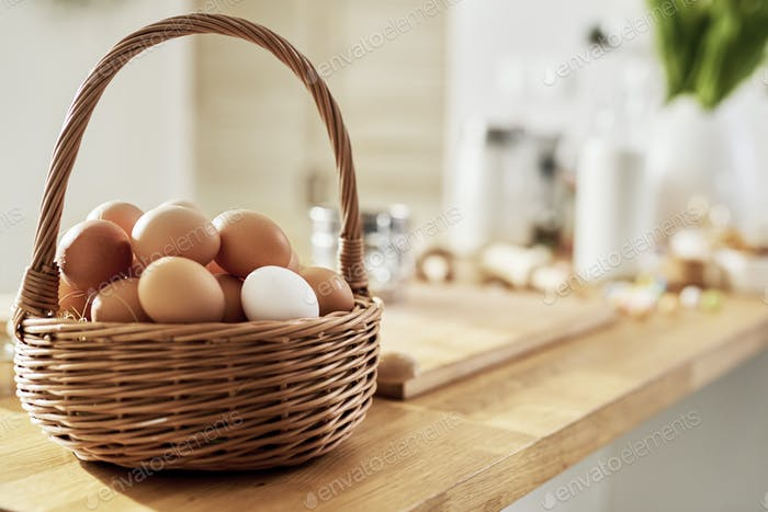 A full basket of eggs