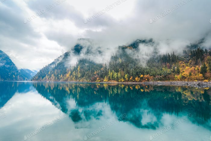beautiful long lake at jiuzhaigou
