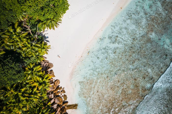 Girl sunbathing on tropical cocos beach with beautiful rocks, palm trees and ocean waves. Aerial